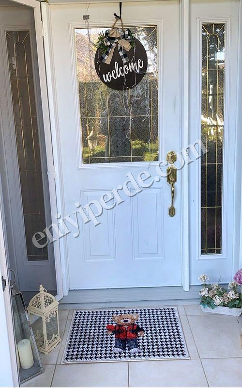 (Siyah) Çağdaş Sevgililer Günü Kaymaz Taban Kapı Önü Paspası (Ebat 50X70) Fiyatı, Yorumları - Eniyiperde.com - 4