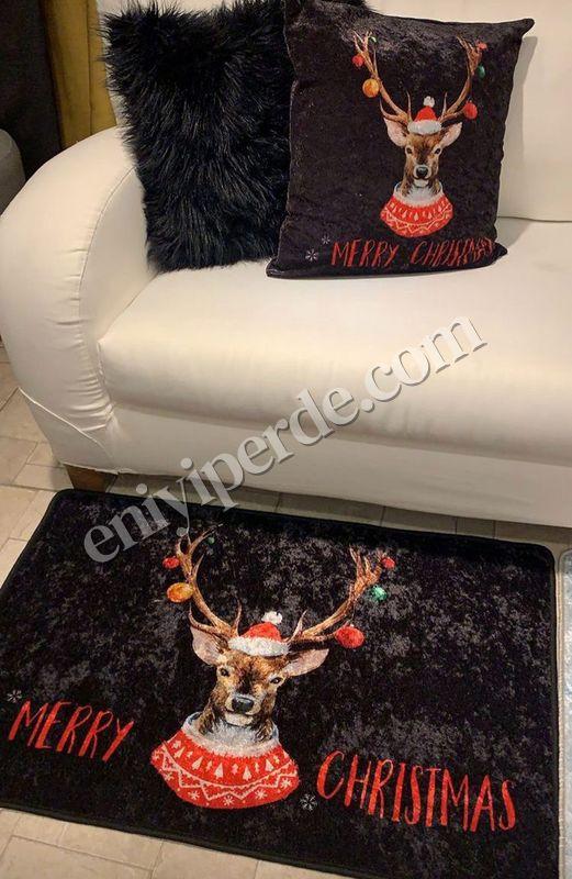 (Çok Renkli) Christmas Yılbaşı Temalı Lateks Kaymaz Taban Kapı Önü Paspası (Ebat 60x90) Fiyatı, Yorumları - Eniyiperde.com - 1