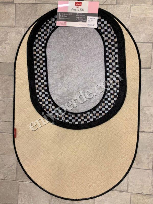 (Gri) Lateks Taban Su Geçirmez Saçaksız (70x110 - 70x50) İkili Banyo Paspas Takımı Fiyatı, Yorumları - Eniyiperde.com - 3