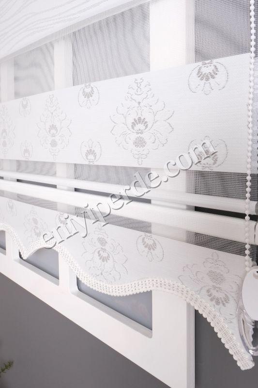 () Ewinas Yeni Sezon Damask Beyaz Gümüş Sim Zebra Perde Damask01 Fiyatı, Yorumları - Eniyiperde.com - 5