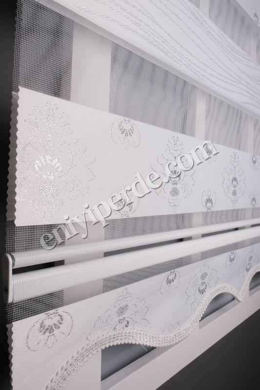 () Ewinas Yeni Sezon Damask Beyaz Gümüş Sim Zebra Perde Damask01 Fiyatı, Yorumları - Eniyiperde.com - 4