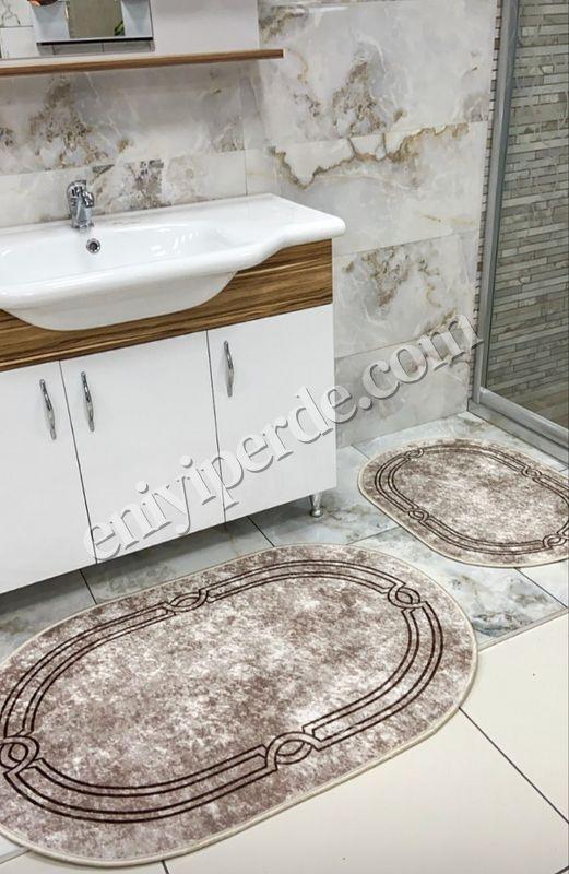 (Kahverengi) Lateks Taban Su Geçirmez Saçaksız (70x110 - 70x50) İkili Banyo Paspas Takımı Fiyatı, Yorumları - Eniyiperde.com - 1