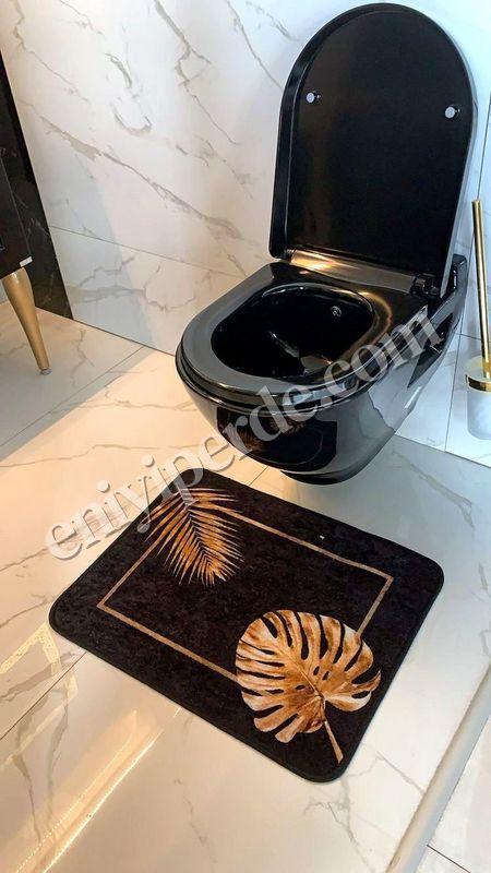 (Siyah)  Egypt Lateks Taban Su Geçirmez Saçaksız (70x110 - 70x50) İkili Banyo Paspas Takımı Fiyatı, Yorumları - Eniyiperde.com - 2