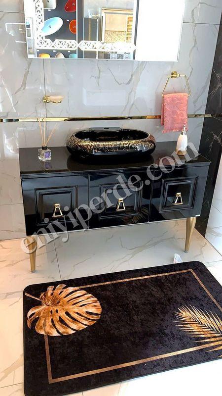 (Siyah)  Egypt Lateks Taban Su Geçirmez Saçaksız (70x110 - 70x50) İkili Banyo Paspas Takımı Fiyatı, Yorumları - Eniyiperde.com - 1