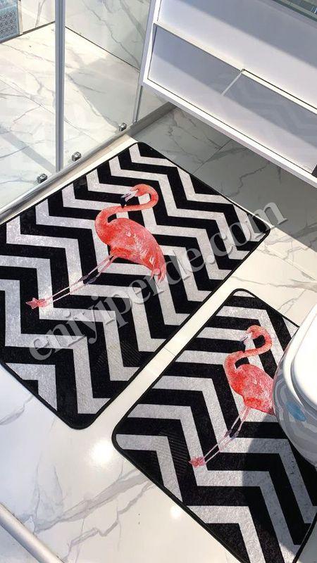 (Siyah) Flamingo Lateks Taban Su Geçirmez Saçaksız (70x110 - 70x50) İkili Banyo Paspas Takımı Fiyatı, Yorumları - Eniyiperde.com - 2