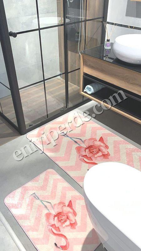 (Pembe) Flamingo Rose Lateks Taban Su Geçirmez Saçaksız (70x110 - 70x50) İkili Banyo Paspas Takımı Fiyatı, Yorumları - Eniyiperde.com - 2