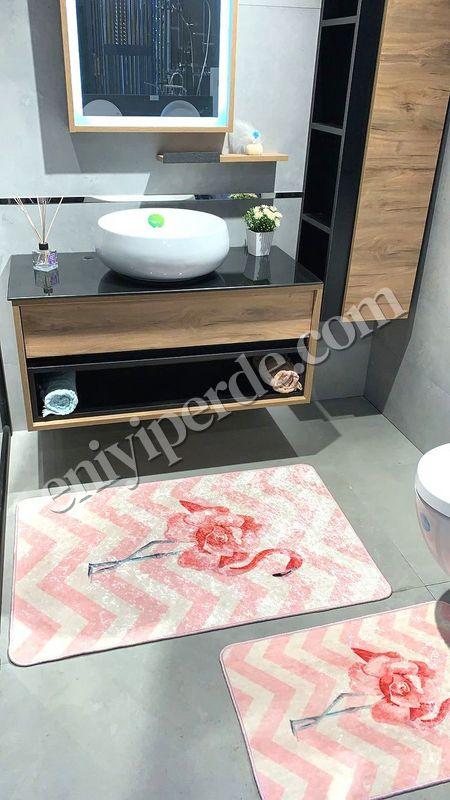 (Pembe) Flamingo Rose Lateks Taban Su Geçirmez Saçaksız (70x110 - 70x50) İkili Banyo Paspas Takımı Fiyatı, Yorumları - Eniyiperde.com - 1