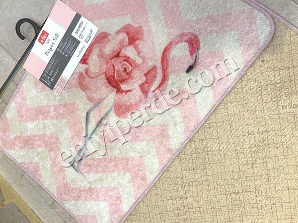 (Pembe) Flamingo Rose Lateks Taban Su Geçirmez Saçaksız (70x110 - 70x50) İkili Banyo Paspas Takımı Fiyatı, Yorumları - Eniyiperde.com - 5