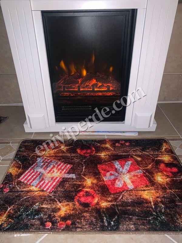 (Çok Renkli) Gift Yılbaşı Temalı Lateks Kaymaz Taban Kapı Önü Paspası (Ebat 60x90) Fiyatı, Yorumları - Eniyiperde.com - 2