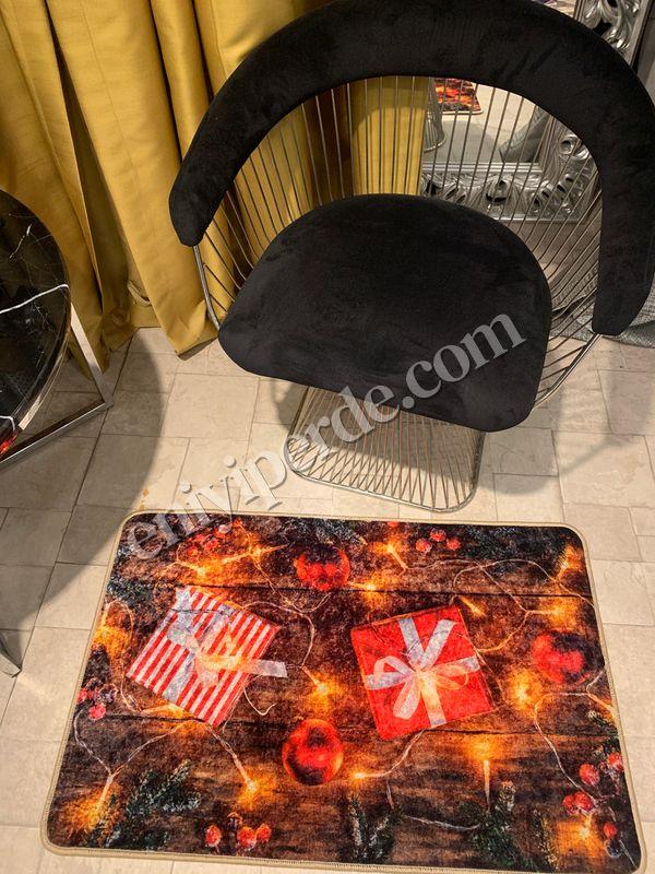 (Çok Renkli) Gift Yılbaşı Temalı Lateks Kaymaz Taban Kapı Önü Paspası (Ebat 60x90) Fiyatı, Yorumları - Eniyiperde.com - 1