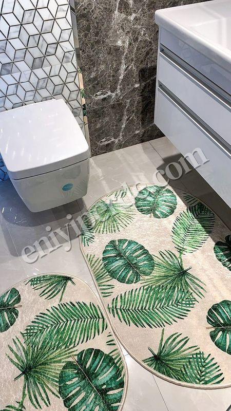 (Yeşil) Leaf Lateks Taban Su Geçirmez Saçaksız (70x110 - 70x50) İkili Banyo Paspas Takımı Fiyatı, Yorumları - Eniyiperde.com - 1