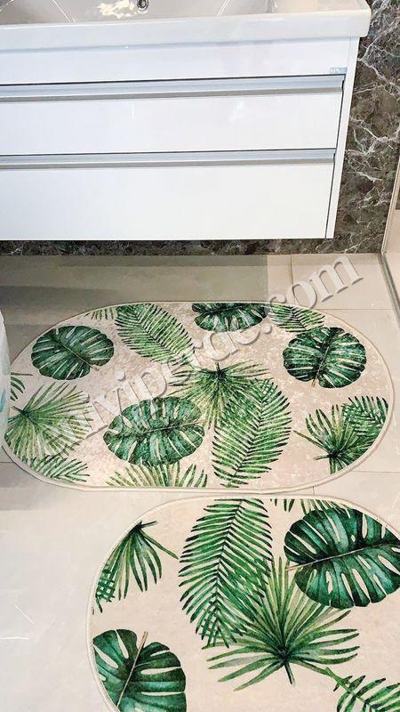 (Yeşil) Leaf Lateks Taban Su Geçirmez Saçaksız (70x110 - 70x50) İkili Banyo Paspas Takımı Fiyatı, Yorumları - Eniyiperde.com - 2