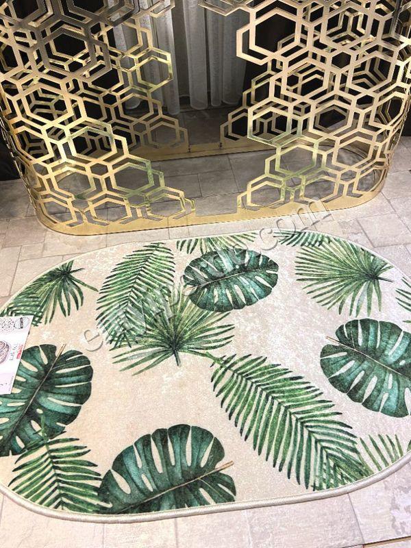 (Yeşil) Leaf Lateks Taban Su Geçirmez Saçaksız (70x110 - 70x50) İkili Banyo Paspas Takımı Fiyatı, Yorumları - Eniyiperde.com - 3