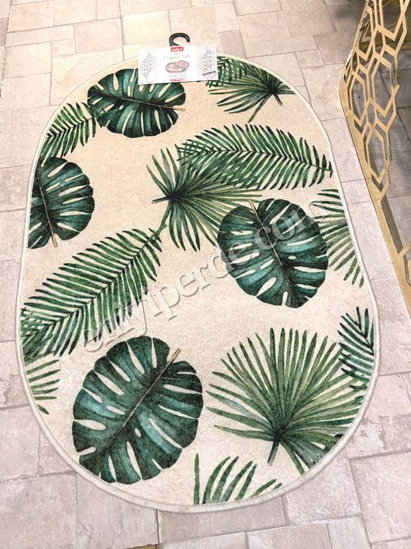 (Yeşil) Leaf Lateks Taban Su Geçirmez Saçaksız (70x110 - 70x50) İkili Banyo Paspas Takımı Fiyatı, Yorumları - Eniyiperde.com - 4