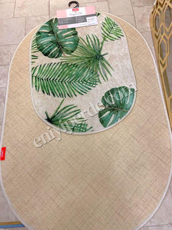 (Yeşil) Leaf Lateks Taban Su Geçirmez Saçaksız (70x110 - 70x50) İkili Banyo Paspas Takımı Fiyatı, Yorumları - Eniyiperde.com - 5