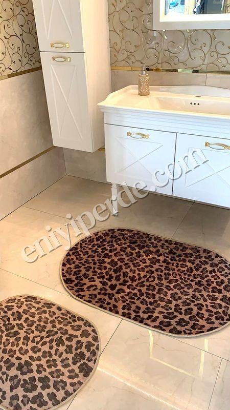(Kahverengi) Leopar Lateks Taban Su Geçirmez Saçaksız (70x110 - 70x50) İkili Banyo Paspas Takımı Fiyatı, Yorumları - Eniyiperde.com - 1
