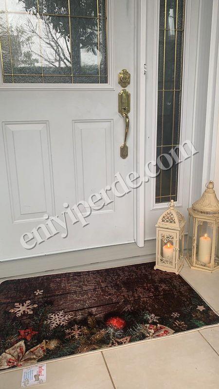 (Çok Renkli) Yılbaşı Temalı Lateks Kaymaz Taban Kapı Önü Paspası (Ebat 60x90) Fiyatı, Yorumları - Eniyiperde.com - 1