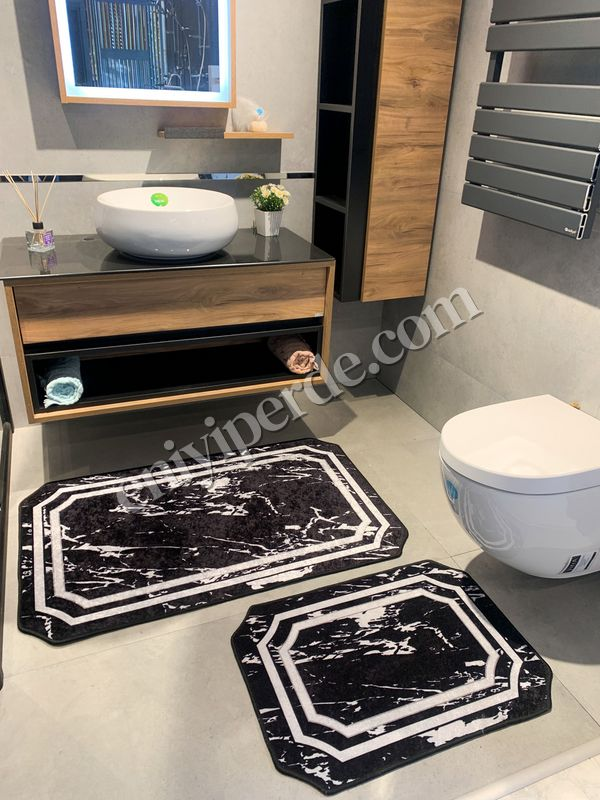 (Siyah) Mermer Lateks Taban Su Geçirmez Saçaksız (70x110 - 70x50) İkili Banyo Paspas Takımı Fiyatı, Yorumları - Eniyiperde.com - 1