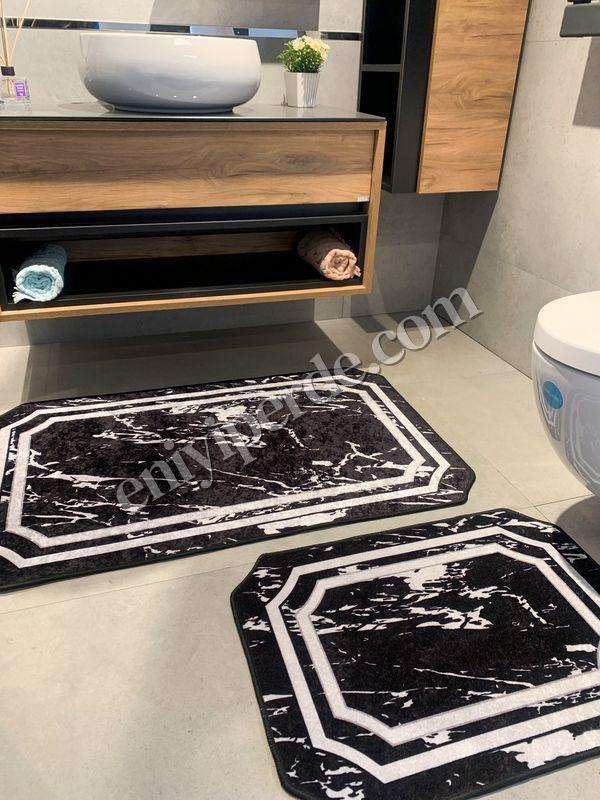 (Siyah) Mermer Lateks Taban Su Geçirmez Saçaksız (70x110 - 70x50) İkili Banyo Paspas Takımı Fiyatı, Yorumları - Eniyiperde.com - 2
