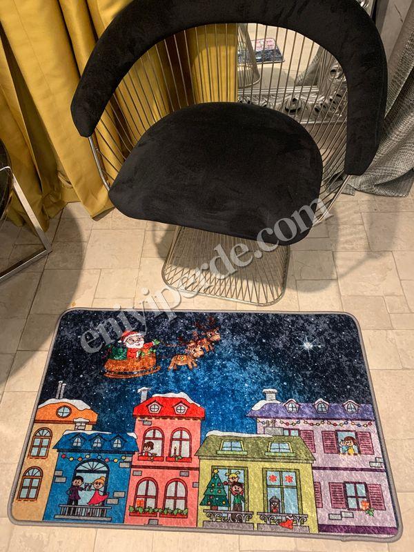 (Çok Renkli) Sanie Mos Yılbaşı Temalı Lateks Kaymaz Taban Kapı Önü Paspası (Ebat 60x90) Fiyatı, Yorumları - Eniyiperde.com - 1