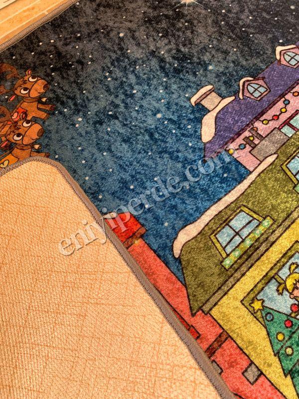 (Çok Renkli) Sanie Mos Yılbaşı Temalı Lateks Kaymaz Taban Kapı Önü Paspası (Ebat 60x90) Fiyatı, Yorumları - Eniyiperde.com - 2