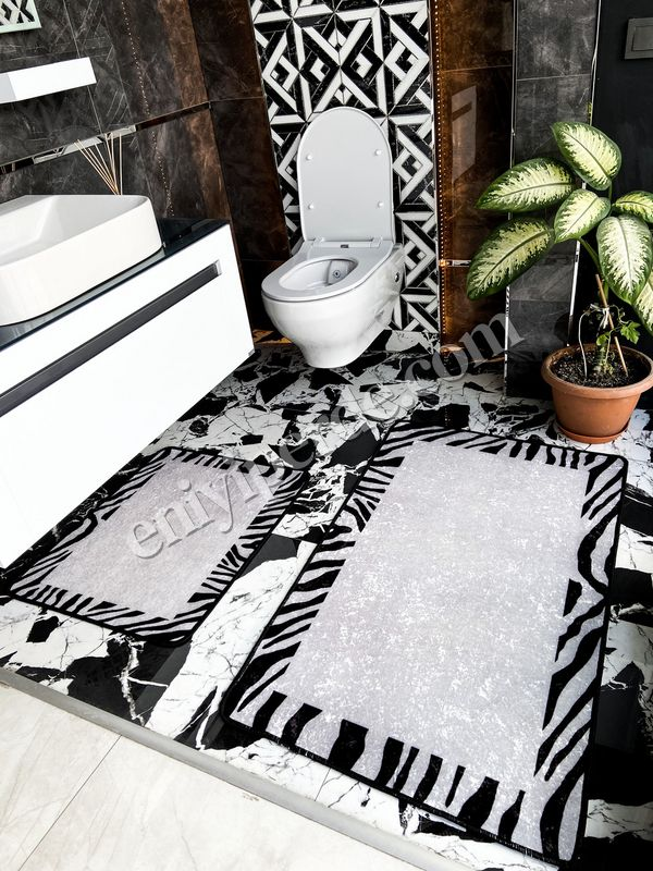 (Siyah) Zebra Lıne Lateks Taban Su Geçirmez Saçaksız (70x110 - 70x50) İkili Banyo Paspas Takımı Fiyatı, Yorumları - Eniyiperde.com - 1