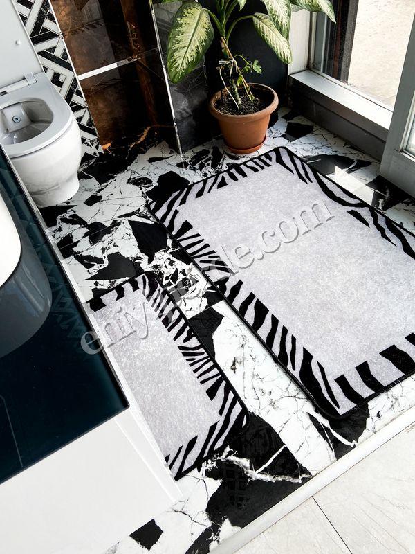 (Siyah) Zebra Lıne Lateks Taban Su Geçirmez Saçaksız (70x110 - 70x50) İkili Banyo Paspas Takımı Fiyatı, Yorumları - Eniyiperde.com - 2