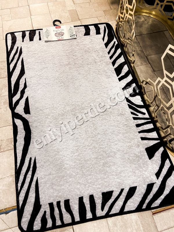 (Siyah) Zebra Lıne Lateks Taban Su Geçirmez Saçaksız (70x110 - 70x50) İkili Banyo Paspas Takımı Fiyatı, Yorumları - Eniyiperde.com - 3