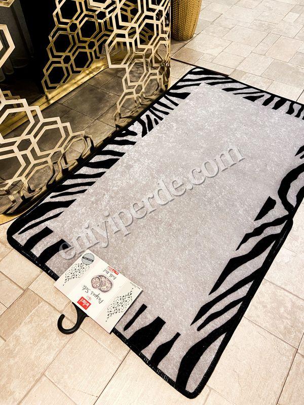 (Siyah) Zebra Lıne Lateks Taban Su Geçirmez Saçaksız (70x110 - 70x50) İkili Banyo Paspas Takımı Fiyatı, Yorumları - Eniyiperde.com - 4
