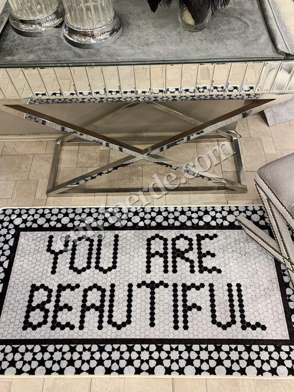 (Siyah) You Are Beautiful Desen Lateks  Deri Taban Su Geçirmez Antialerjik Halı Fiyatı, Yorumları - Eniyiperde.com - 2