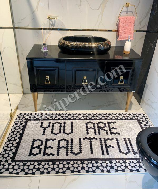 (Siyah) You Are Beautiful Desen Lateks  Deri Taban Su Geçirmez Antialerjik Halı Fiyatı, Yorumları - Eniyiperde.com - 4