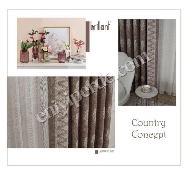 (Kahverengi) Country Collection 1/3 Sık Pile Pano Desen Natural Keten Fon Perde Fiyatı, Yorumları - Eniyiperde.com - 4