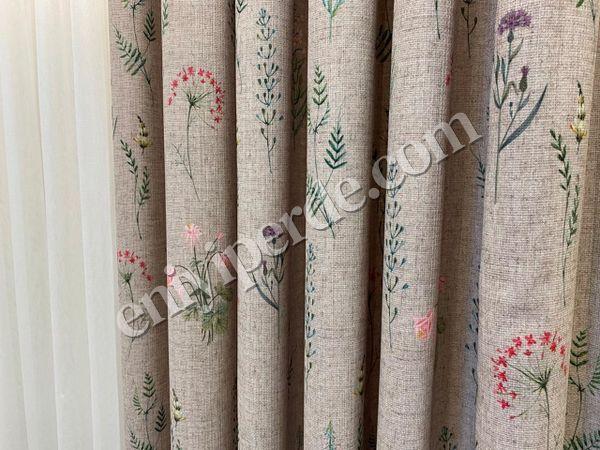 (Kahverengi) Country Collection 1/2,50 Pile Natural Keten Çiçek Desenli Fon Perde Fiyatı, Yorumları - Eniyiperde.com - 3