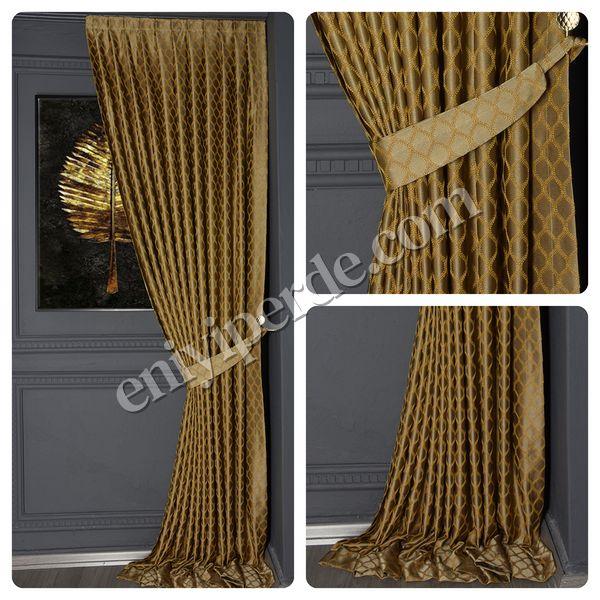 (Sarı) Damla Saten Fon Perde Sarı AJR-9212-536 Fiyatı, Yorumları - Eniyiperde.com - 1