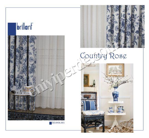 (Mavi) Country Collection 1/2,50 Pile Natural Keten Çiçek Desenli Fon Perde Fiyatı, Yorumları - Eniyiperde.com - 5