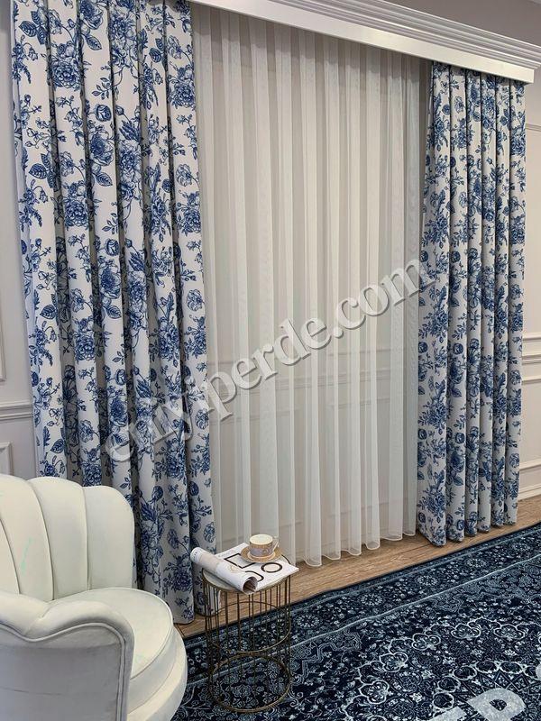 (Mavi) Country Collection 1/2,50 Pile Natural Keten Çiçek Desenli Fon Perde Fiyatı, Yorumları - Eniyiperde.com - 3