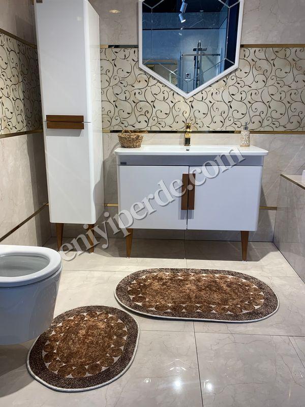 (Kahverengi) 2'li Lateks Kaymaz Taban Saçaksız Banyo Paspas Takımı Fiyatı, Yorumları - Eniyiperde.com - 1