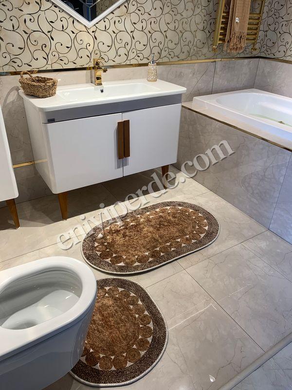 (Kahverengi) 2'li Lateks Kaymaz Taban Saçaksız Banyo Paspas Takımı Fiyatı, Yorumları - Eniyiperde.com - 2