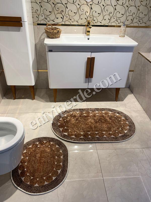 (Kahverengi) 2'li Lateks Kaymaz Taban Saçaksız Banyo Paspas Takımı Fiyatı, Yorumları - Eniyiperde.com - 3