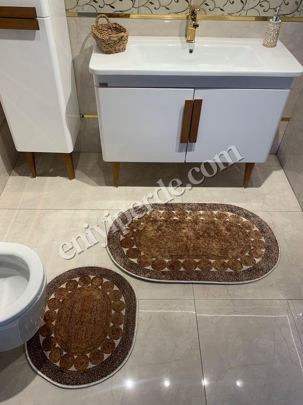 (Kahverengi) 2'li Lateks Kaymaz Taban Saçaksız Banyo Paspas Takımı Fiyatı, Yorumları - Eniyiperde.com - 4