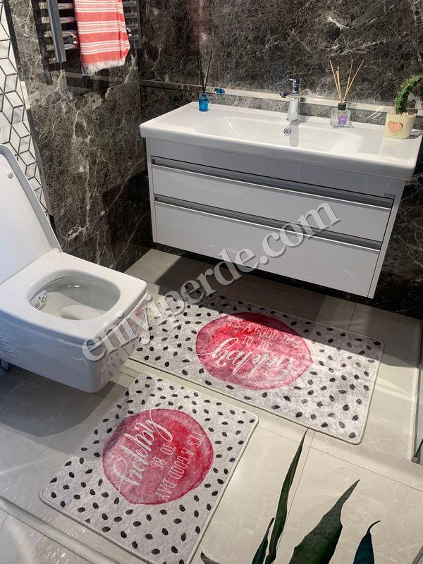 (Bej) 2'li Lateks Kaymaz Taban Saçaksız Banyo Paspas Takımı Fiyatı, Yorumları - Eniyiperde.com - 1