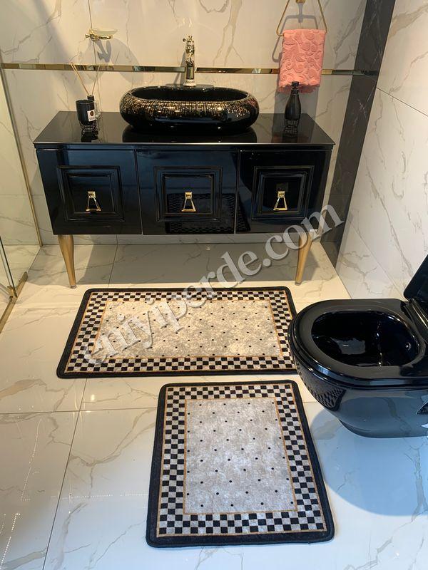 (Siyah) 2'li Lateks Kaymaz Taban Saçaksız Banyo Paspas Takımı Fiyatı, Yorumları - Eniyiperde.com - 1