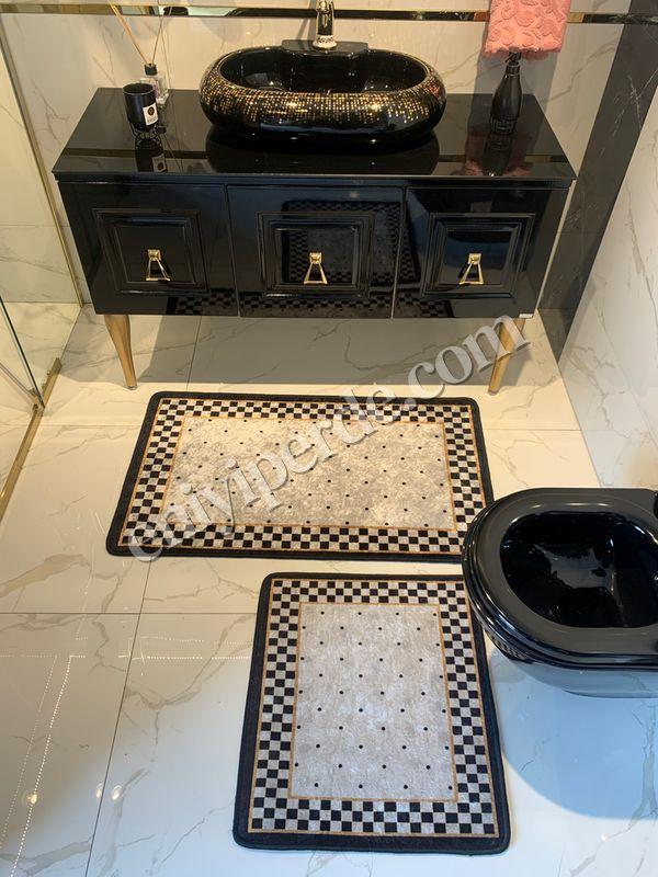 (Siyah) 2'li Lateks Kaymaz Taban Saçaksız Banyo Paspas Takımı Fiyatı, Yorumları - Eniyiperde.com - 4