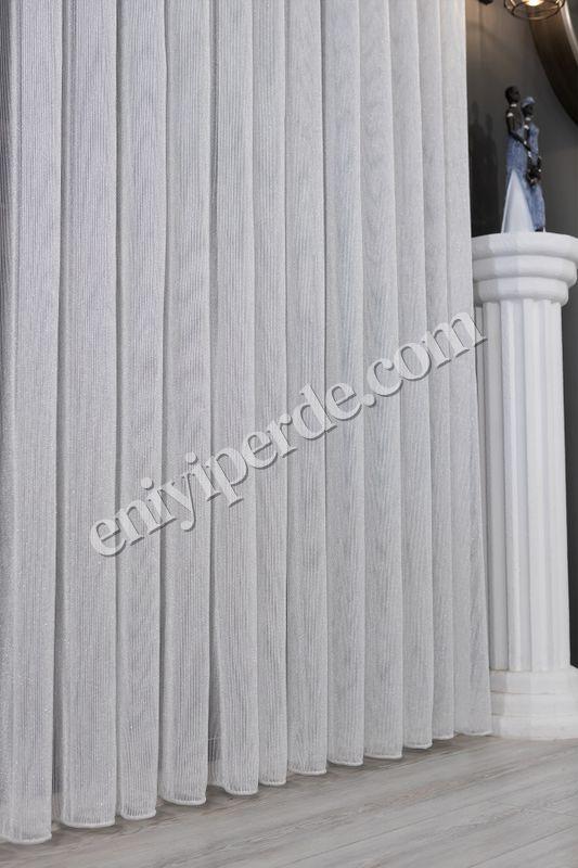 (Ekru) Çizgili Düz Tül Perde Çelik Tül Fiyatı, Yorumları - Eniyiperde.com - 4