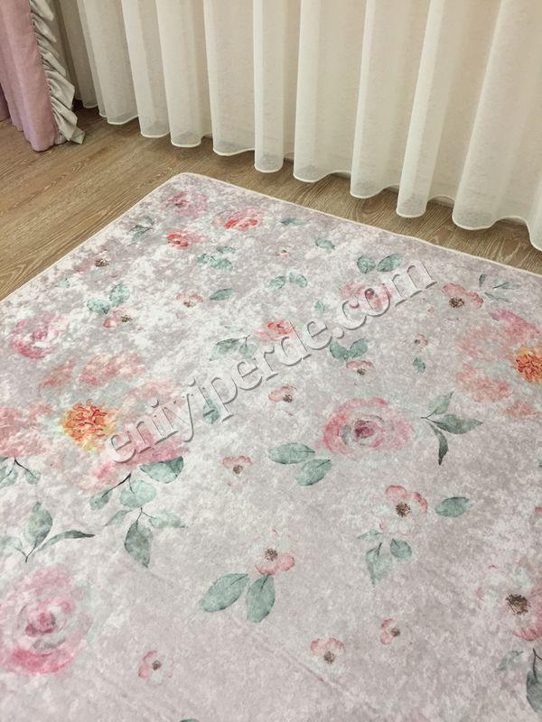 (Pudra) Çiçek Motif Lateks Kaymaz Taban Leke Tutmaz Çocuk Halı Fiyatı, Yorumları - Eniyiperde.com - 3