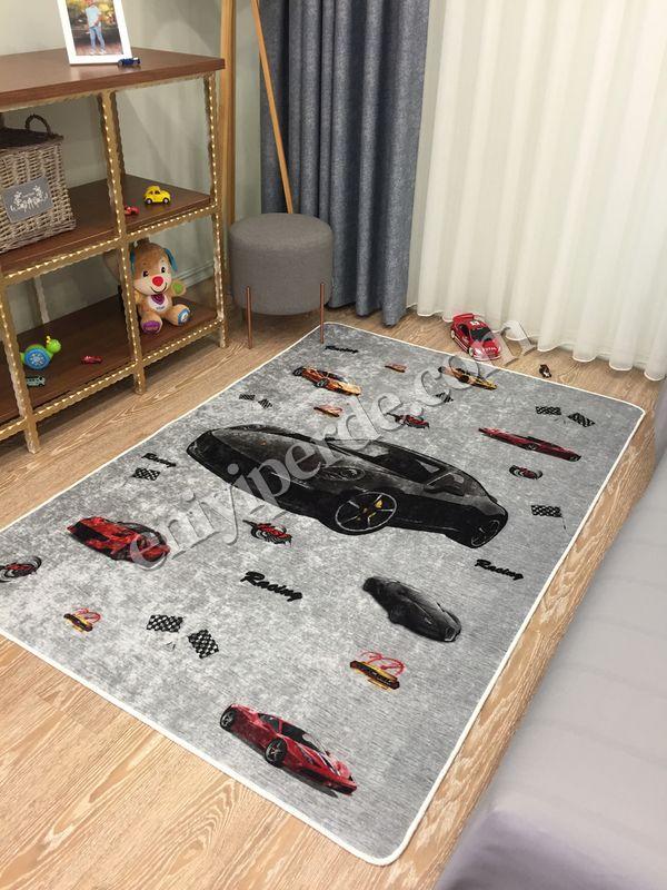 (Gri) Araba Desen Lateks Kaymaz Taban Leke Tutmaz Çocuk Halı Fiyatı, Yorumları - Eniyiperde.com - 1
