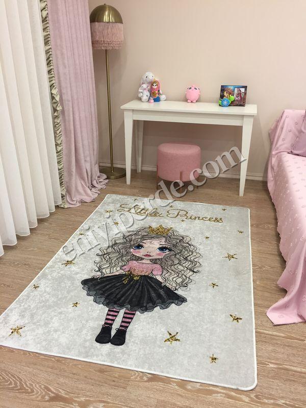 (Bej) Prenses Model Lateks Kaymaz Taban Leke Tutmaz Çocuk Halı Fiyatı, Yorumları - Eniyiperde.com - 1
