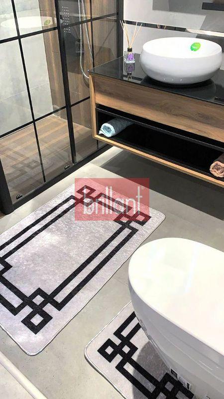 (Gri) Striped Lateks Taban Su Geçirmez Saçaksız (70x110 - 70x50) İkili Banyo Paspas Takımı Fiyatı, Yorumları - shop.brillant.com - 2