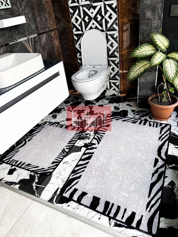 (Siyah) Zebra Lıne Lateks Taban Su Geçirmez Saçaksız (70x110 - 70x50) İkili Banyo Paspas Takımı Fiyatı, Yorumları - shop.brillant.com - 1