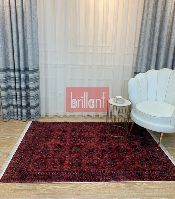 (Bordo) Şönil Görünüm Saçaklı Klasik Kilim Halı Fiyatı, Yorumları - shop.brillant.com - 1